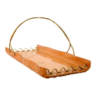 Aldo Tura Milano Wood & Brass Basket