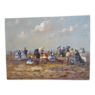 Victorian Beach Scene Oil Painting