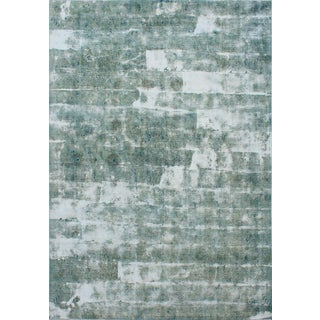 "Vintage Persian Overdyed Mint Green Rug- 8'10"" x 12'2"""