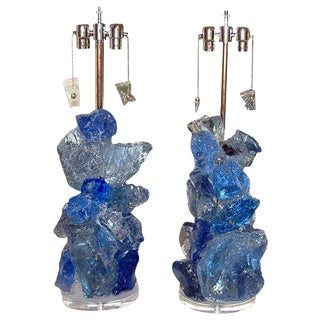 Rock Candy Glass Lamps in Blue Crystal