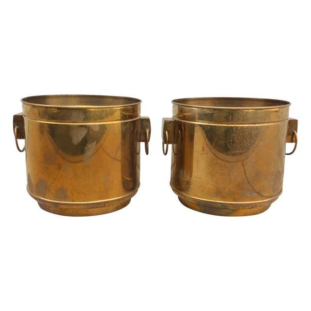 Large Vintage Modern Brass Planters - Image 1 of 7