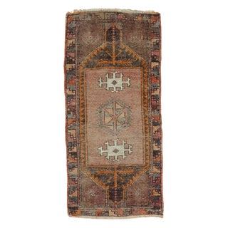 "Vintage Turkish Oushak Runner - 1'7"" X 3'5"""