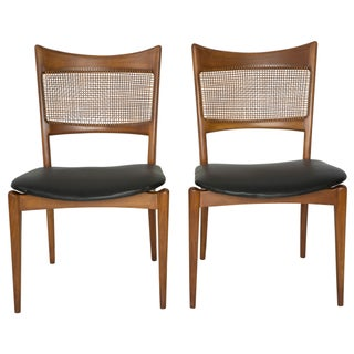 Jens Risom Style Woven Back Chairs - Pair