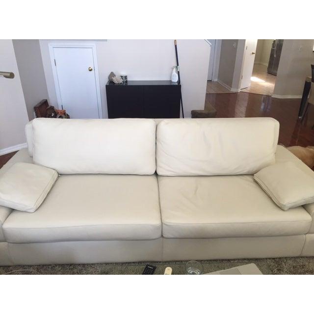 Italian Leather Low Profile Modern Sofa Ottoman Chairish