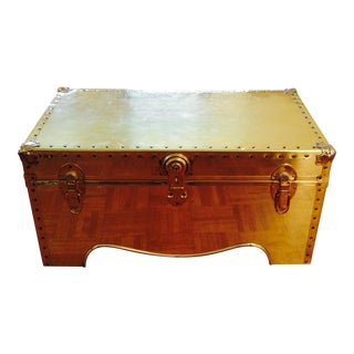 Vintage Brass Clad Trunk Table