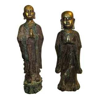 Asian Metal Gold Red and Green Painted Statues - a Pair