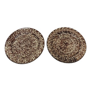 Brown Spongeware Ceramic Plates - A Pair