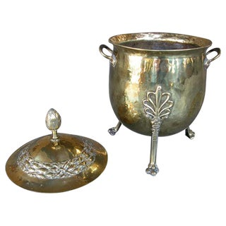 A Handsome and Boldly-Scaled English Neoclassical Style Brass Ovoid-Shaped Two-Handled Covered Coal Bucket