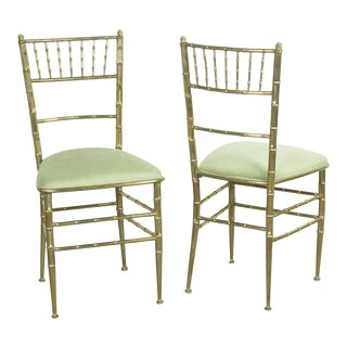 Pair of Italian Newly Upholstered in Velvet Brass Chiavari Chairs