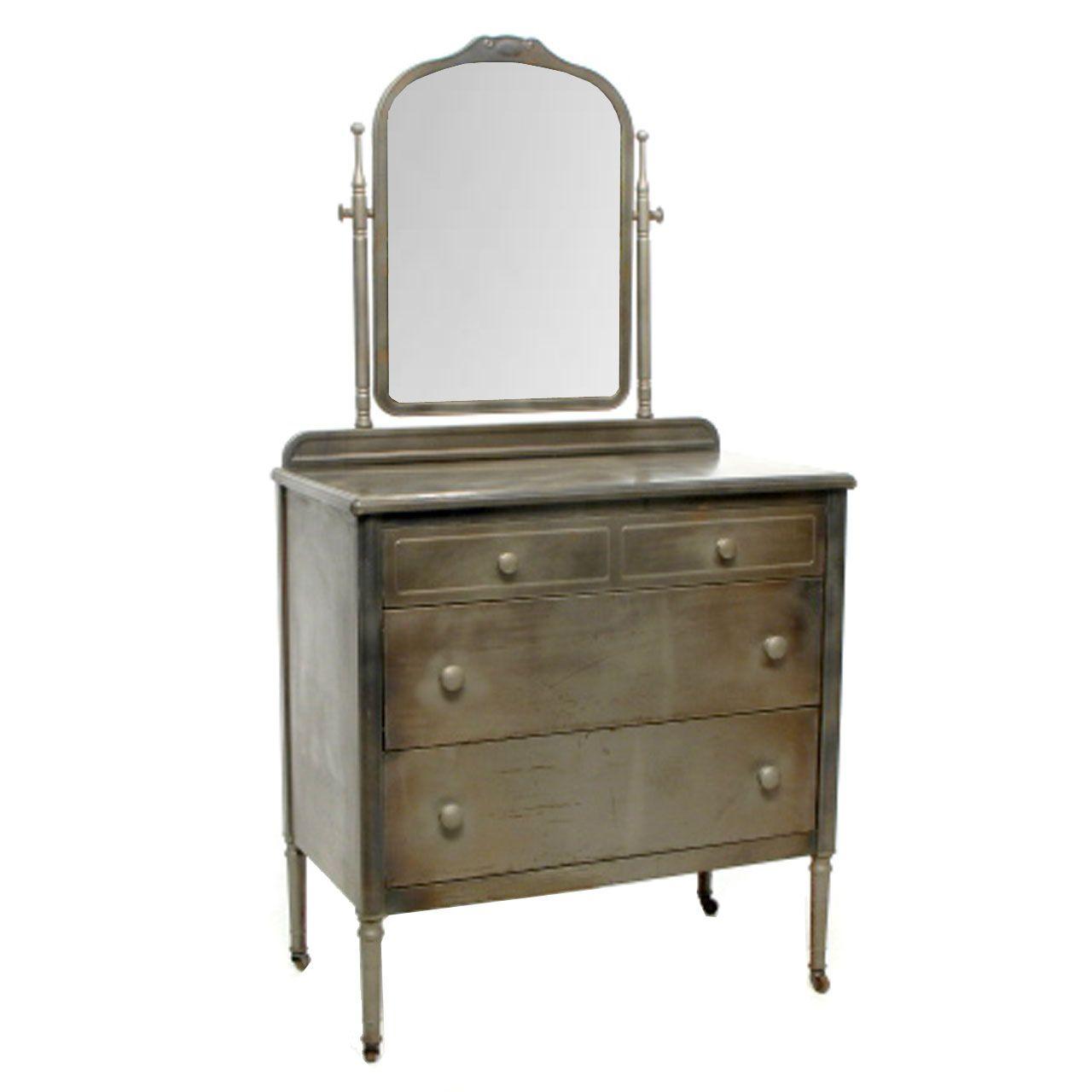 Norman Bel Geddes Industrial Antique Metal Dresser