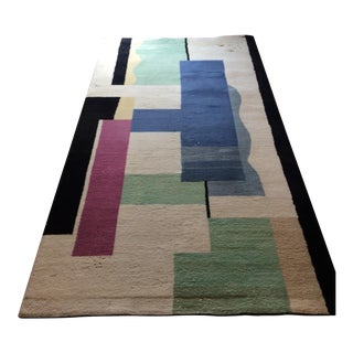 Fernand Leger 'Blanc' Hand Knotted Tapis Carpet -