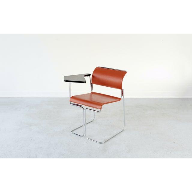 Harter Vintage Orange Vinyl & Chrome Tablet Chair - Image 5 of 6