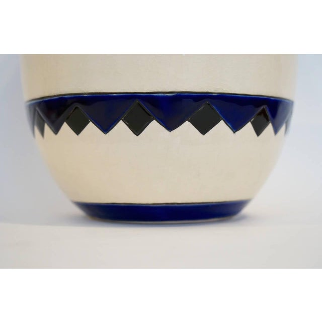 Rare Cobalt and Cream Charles Catteau Vase - Image 7 of 8
