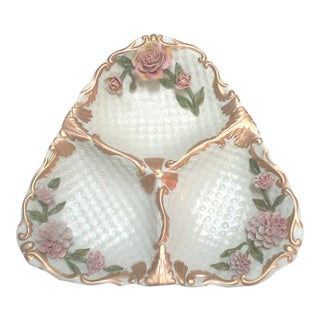 Italian Decorative Porcelain Floral Divided Tray