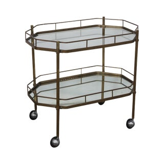 Mid-Century Brass 2-Tier Mirror Shelf Bar Cart