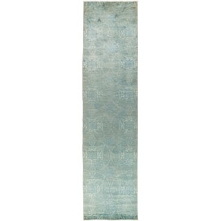 "New Overdyed Hand Knotted Runner - 3'2"" x 14'"