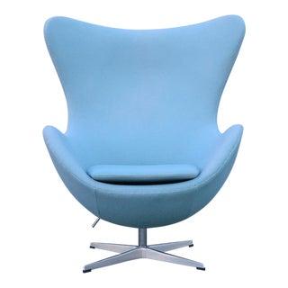 Mid Century Modern Arne Jacobsen Style Baby Blue Egg Chair