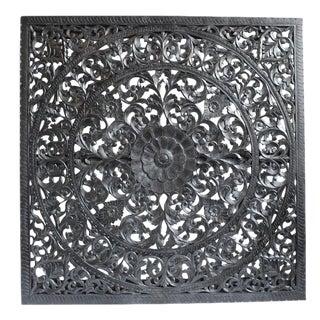 Carved Ebony Wood Panel