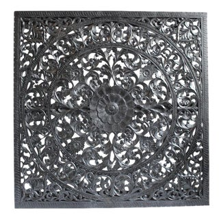 Carved Ebony Wood Panel
