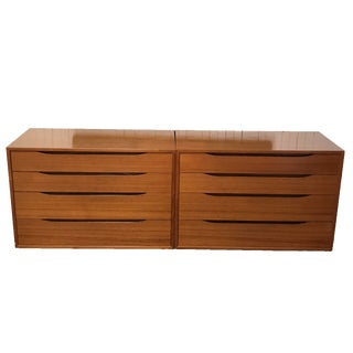 Bruksbo Norwegian Floating Teak Dressers - A Pair