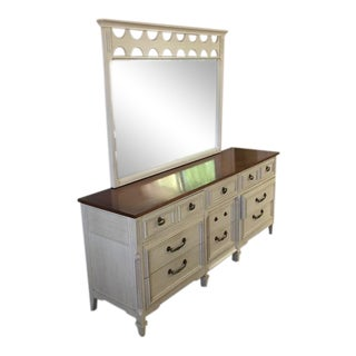 Vintage White Wood Dresser and Vanity Mirror