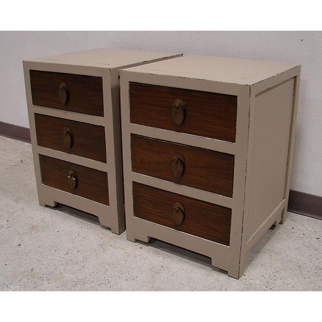 Teak Painted Night Stand Accent Table Set - Image 4 of 5