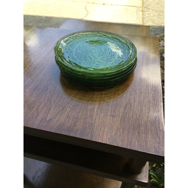 Vintage Libbey Rock Sharpe Olive Green Salad Plates- Set of 5 - Image 3 of 6