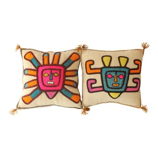Vintage Aztec Sun Appliqué  Pillows - A Pair
