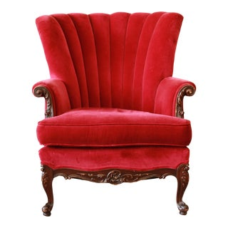 1930s French Mahogany & Red Velvet Armchair