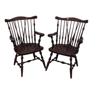 Ethan Allen Pine Duxbury Windsor Arm Chairs - Pair