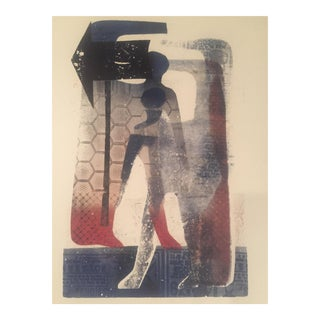 Vintage Original Mid-Century Abstract Block Print