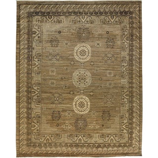 "Asian Inspired Khotan Hand Knotted Gold Wool Area Rug - 9' 5"" X 11' 6"""