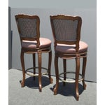 Image of Vintage French Provincial Leather & Cane Bar Stools - A Pair