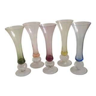Hand Blown Assorted Champagne Flutes - Set of 5