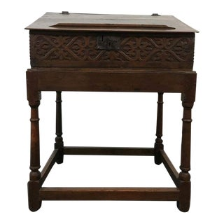 Antique Ornate Carved Walnut Desk