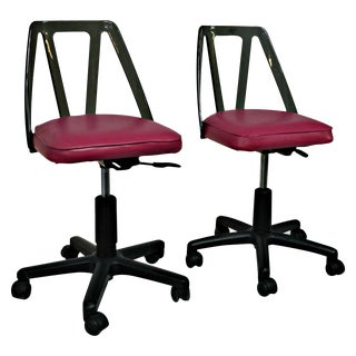 Vintage Smoked Lucite Office Chairs - Pair