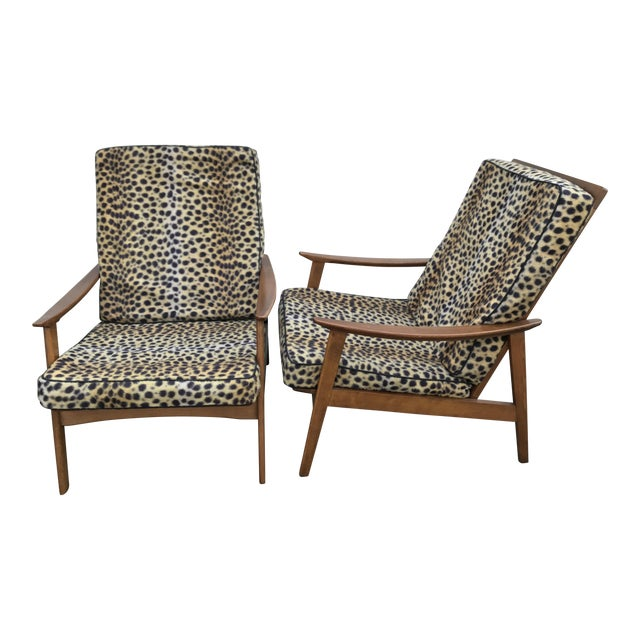 Vintage Danish Modern High Back Armchairs - A Pair - Image 1 of 11