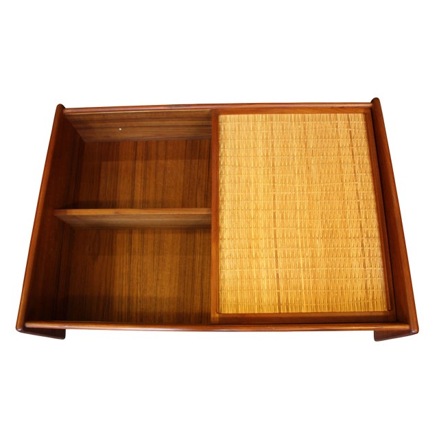 Image of Danish Modern Wall Mounted Teak and Cane Cabinet