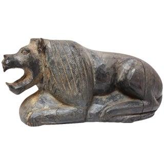 Primitive American Folk Art Carved Lion