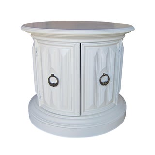 White Drum Table with Faceted Detailing