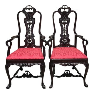 Pair of Antique Red Swan Armchairs