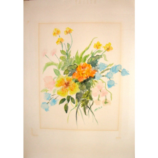 Image of Vintage Floral Watercolor Painting
