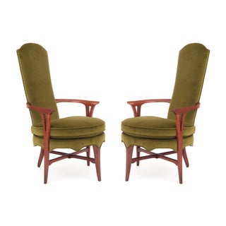Pair of Solid Walnut & Velvet Italian Lounge Chairs