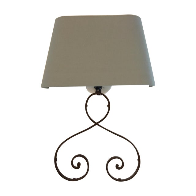 Image of Iron Sconces with Shades - A Pair