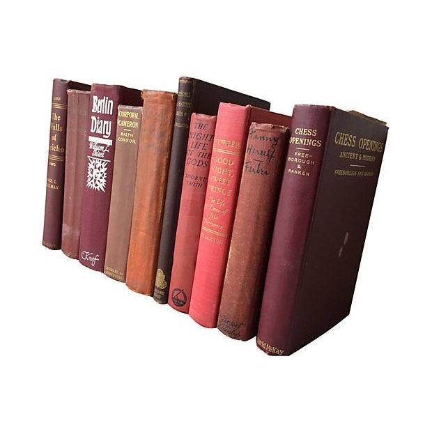 Image of Vintage Red-Tone Decorative Books - Set of 10