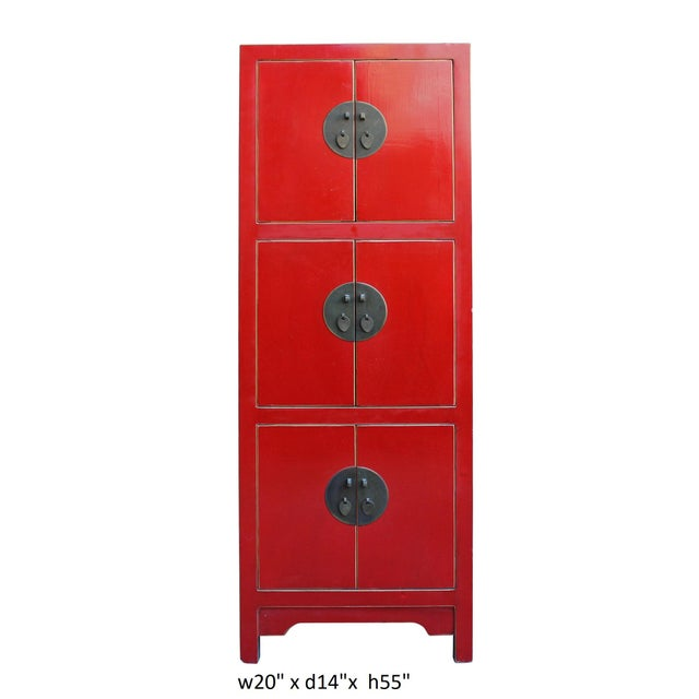Chinese Red Lacquer Narrow Mid Size 3 Shelves Storage Cabinet - Image 5 of 5