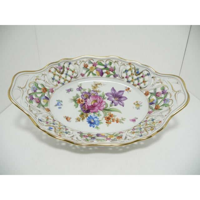 Vintage Porcelain Schumann Dresden Floral Bouquet Oval Serving Dish W Handles - Image 2 of 8