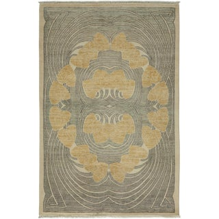 "Contemporary Hand Knotted Area Rug - 4'1"" X 6'3"""