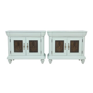 Neoclassical Light Blue Nightstands - A Pair