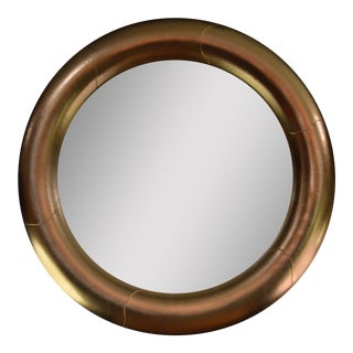Monumental Leather-Clad Mirror